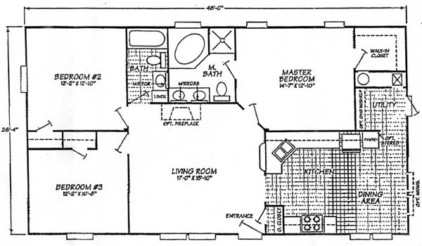 New 3 Bed 2 Bath Floor Plan